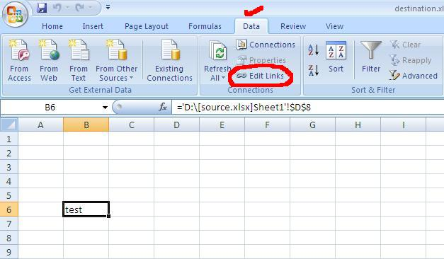 How to stop update links in excel 2010